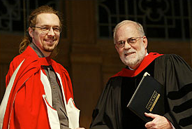 Clifford Zeyl (left) receives award for Excellence in Research